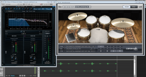 Blue Cat's MB-7 Mixer 2 Hosting Session Drummer 3 inside Sonar, to replace the lower frequencies of the kick