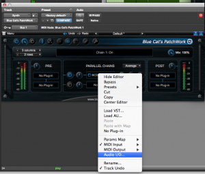 Open the Audio I/O pane using the plug-in menu