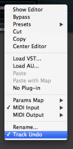 track undo menu