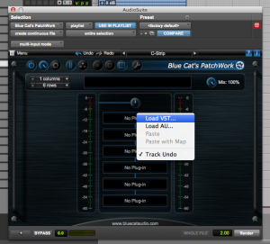 Then load your favorite plug-in in Audio Unit or VSt format