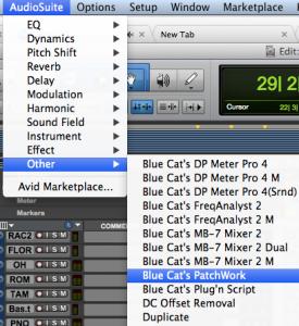Open Blue Cat's PatchWork from the AudioSuite menu