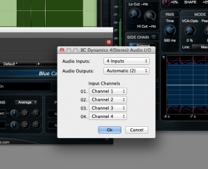 Channel 1-2 are routed to input 1 and 2 (main inputs) and channels 3 and 4 to input 3 and 4 (side chain inputs)