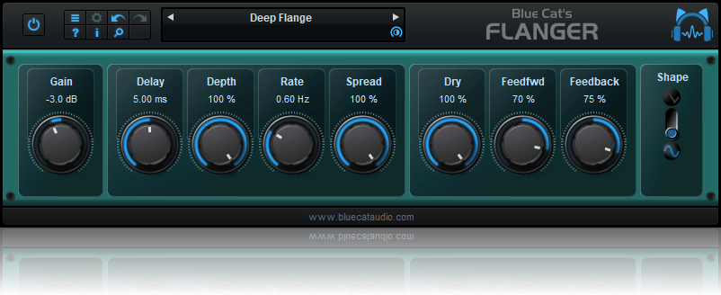 Blue Cat's Flanger - Classic Flanging Effect Audio Plug-in (VST, AU, RTAS, AAX, VST3) (Freeware)