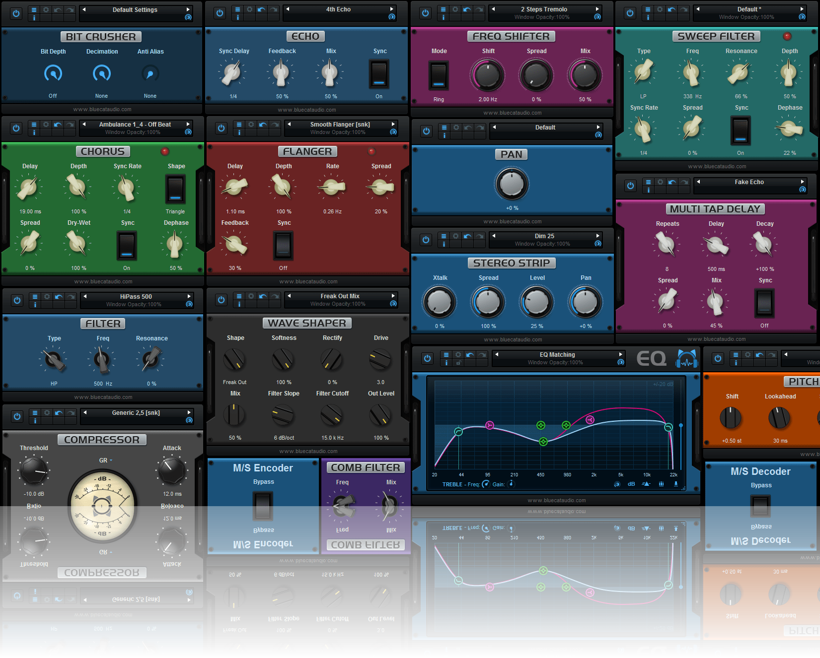 Blue Cat's PatchWork - Inludes 25 top notch built-in audio effects: EQ, compressor, gate, ducker, flanger, phaser, delays...