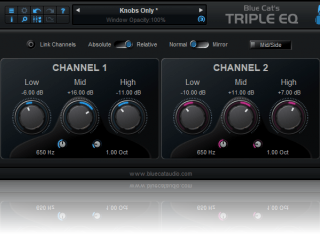 Blue Cat's Triple EQ - Semi-Parametric 3 Bands Equalizer Audio Plug-in (VST, AU, AAX, VST3) (Freeware)