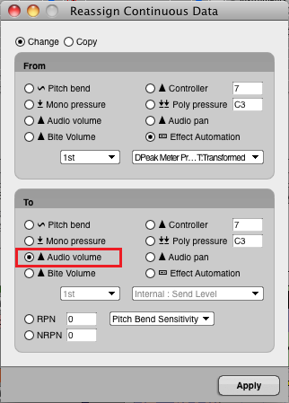 Step 13 - Select the destination parameter (audio volume in this example, but any other parameter can be chosen)