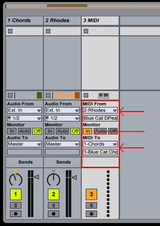 Step 09 - Select the source DPMP track as input, and the chorus destination track as output (for an external device, use the MIDI output port)