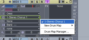 Step 02 - On a MIDI track, assign the output to your DXi effect, and select 'MIDI Omni' as input
