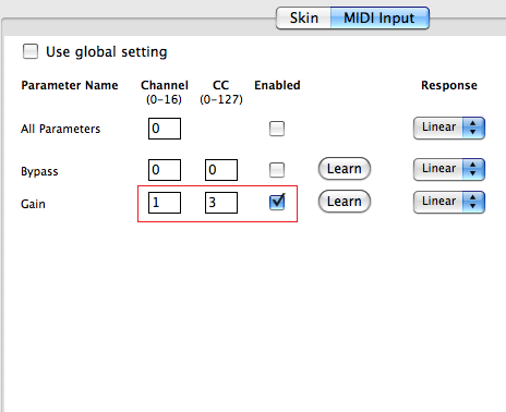 Step 09 - Enable MIDI for the gain parameter and set the MIDI CC channel and number to the same values as the DPMP output