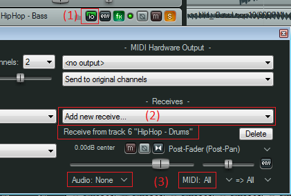 Step 05 - Setup the destination track to receive all MIDI events from the source track
