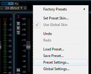 Step 06 - Open the preset settings on the MB7-Mixer plug-in (destination track)