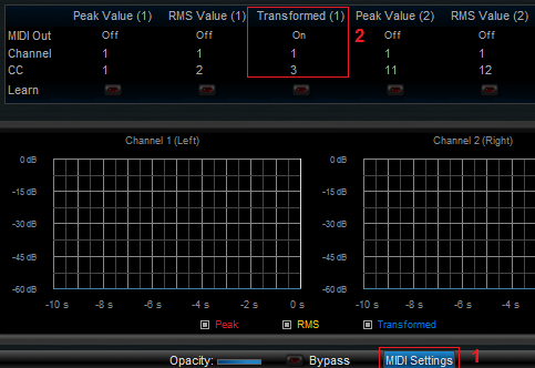 Step 07 - Activate the Transformed peak parameter MIDI out and select its MIDI channel and number