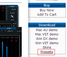 Step 01 - If presets are available for your plugin, a link appears in the 'Download' section on the right of the page